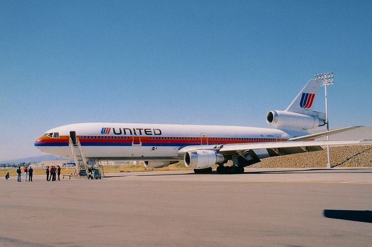 United Airlines McDonnell-Douglas DC-10-30 at the company's maintenance base at Oakland International Airport, California
