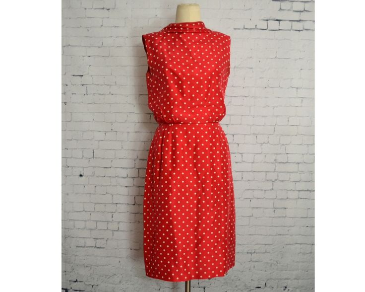 Vintage 1950's Red Silk Dress // Sleeveless Red Dress with White Polka Dots by villavillavintage on Etsy https://www.etsy.com/listing/206062944/vintage-1950s-red-silk-dress-sleeveless