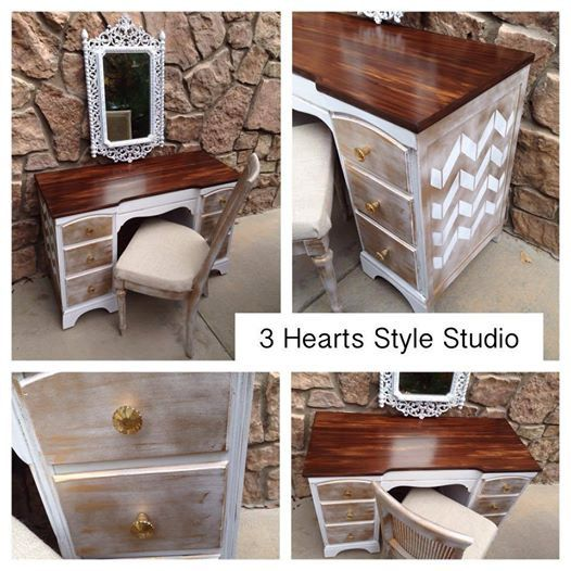 White and gold chevron desk and chair set by 3HeartsStyleStudio