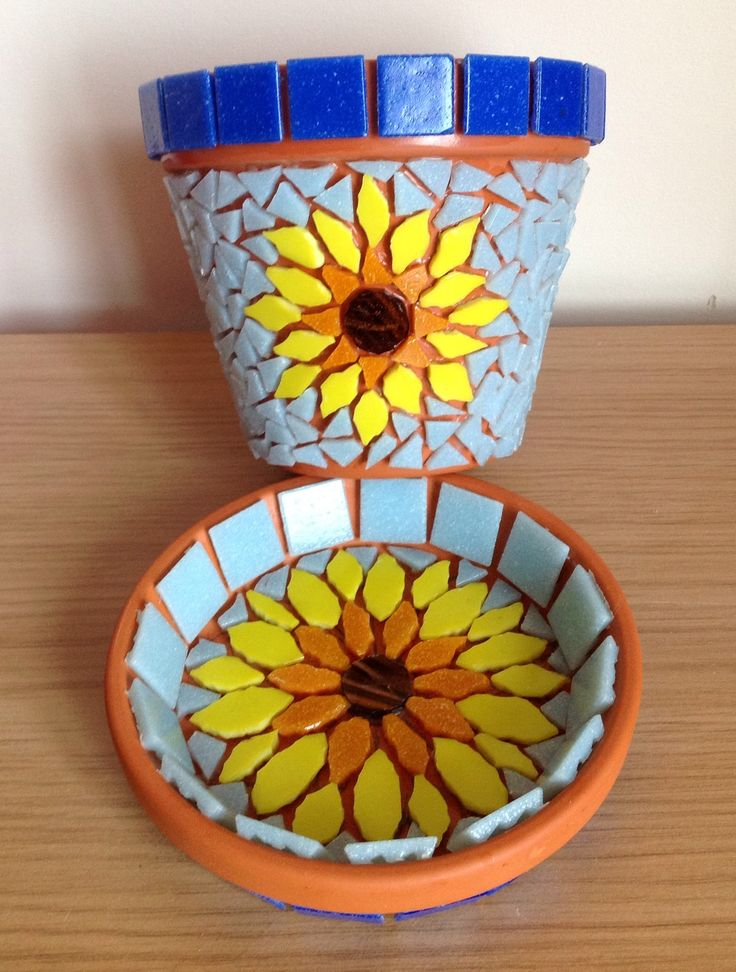 My first terracotta pot mosaic - just needs grouting! :)