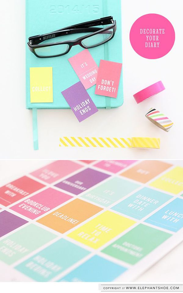 Colourful planner tags