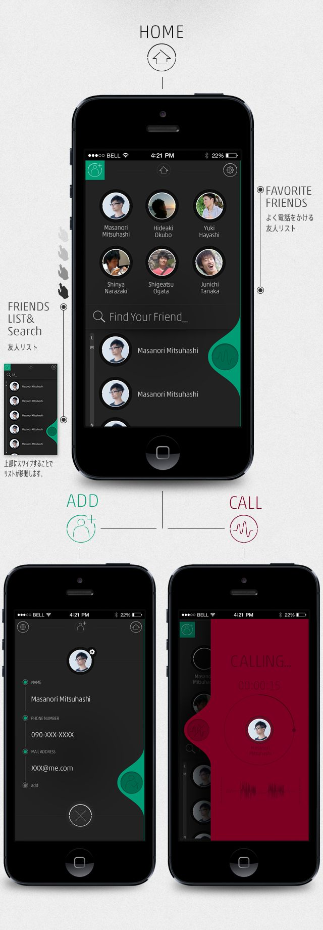 Drop calling | Interface intéressante, invitant, et visualisant vraiment l'utilisation des doigts et leur action