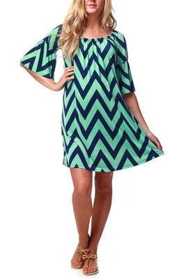 Mint Green Navy Chevron Maternity Dress - cute for grad school graduation (when I'm 37 weeks pregnant!)