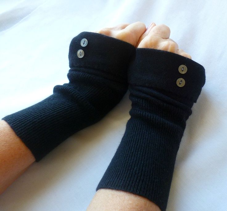 Fingerless Gloves Black Cotton with Buttons by HollynSage on Etsy, $24.00