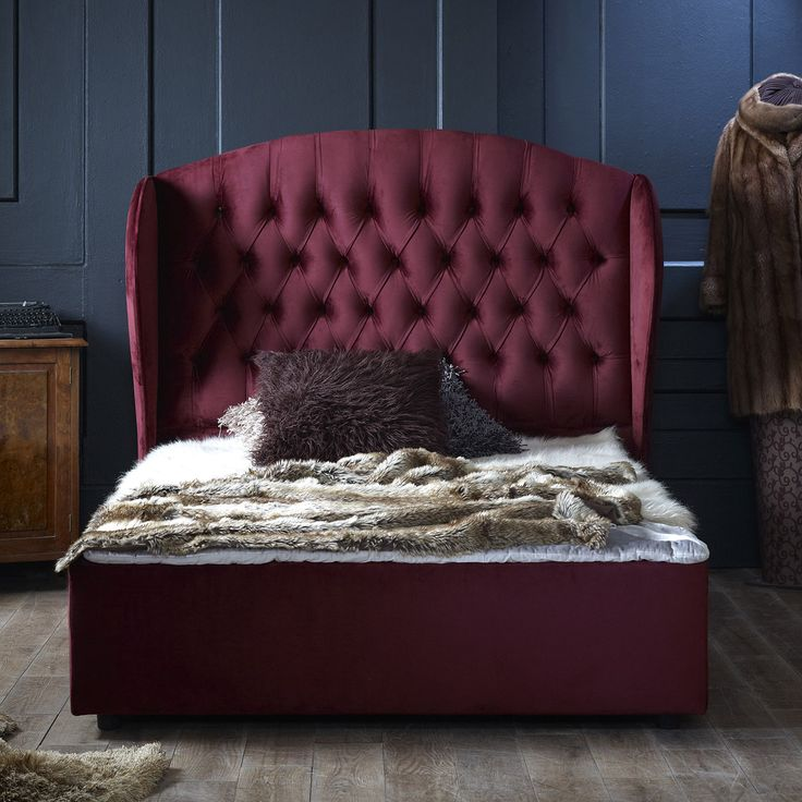 Florence King Velvet Bed Frame, Burgundy, Choose Option