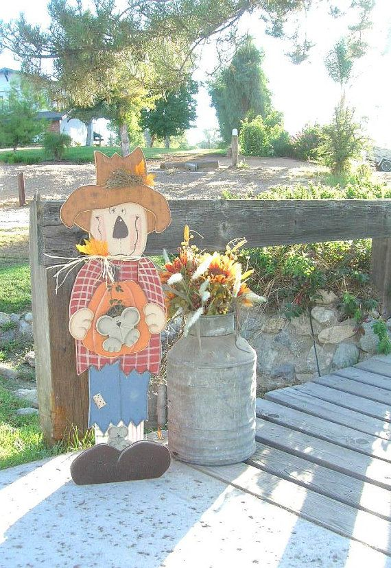 """36"""" Tall Wood Scarecrow Wood Cutout  -- Love the Face and Big Feet"""