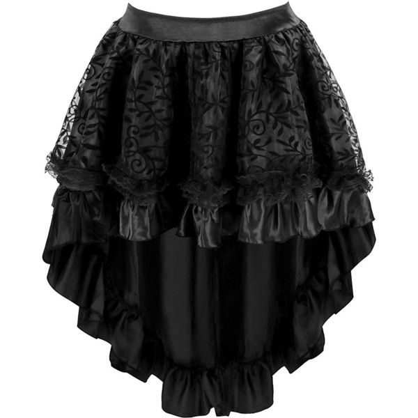 Blidece Women's Lace Steampunk Gothic Vintage Satin High Low Corset... ❤ liked on Polyvore featuring skirts, knee length lace skirt, wide skirt, hi low skirt, zipper skirt and lace skirt