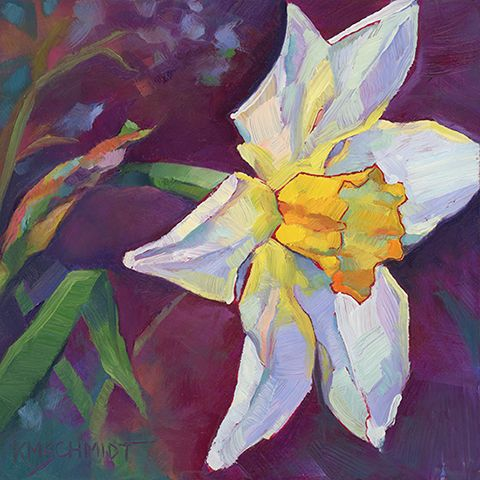 Sun Bather impressionist oil painting illustration of a single daffodil • floral garden painting by Louisiana artist KMSchmidt • daily painting technique