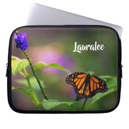 Monarch Butterfly photo floral setting customize Computer Sleeve - floral style flower flowers stylish diy personalize