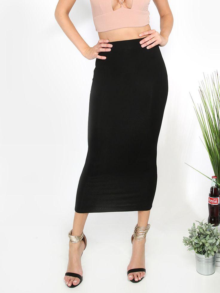 Shop Black  Basic Sheath Midi Skirt online. SheIn offers Black  Basic Sheath…