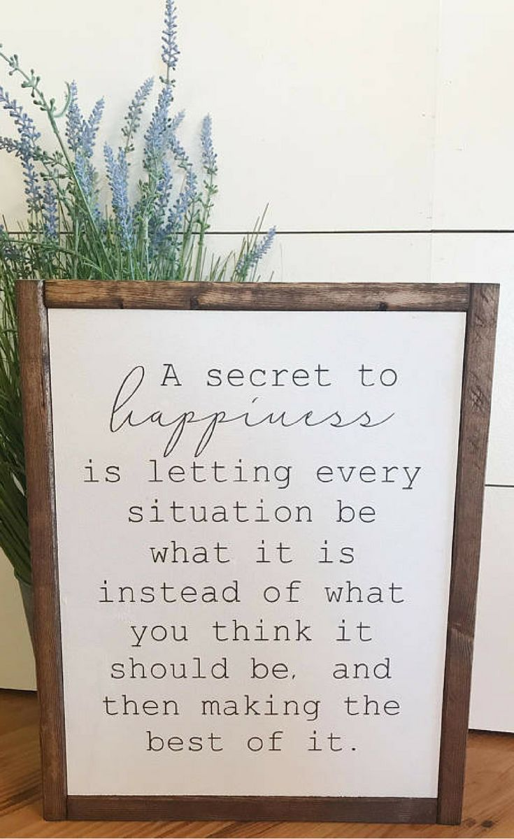 YES! I find I'm much happier if I let things just be rather than how I think they should be. Happiness sign, Inspirational decor, Farmhouse sign, farmhouse decor, custom wood sign, rustic fixer upper, home decor, rustic decor, rustic sign #ad