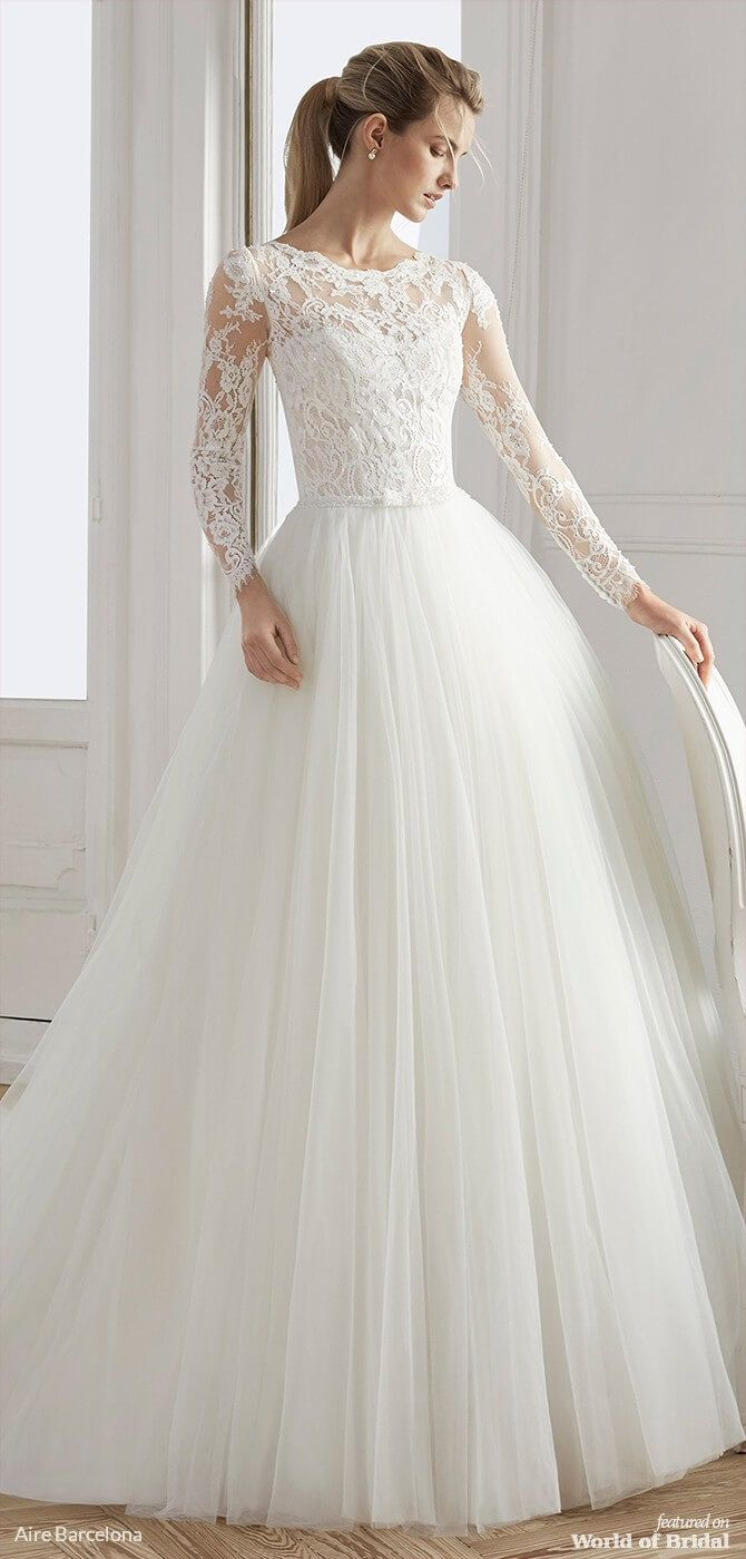 Aire Barcelona 2019 Wedding Dresses World Of Bridal Wedding Dresses Lace Ballgown Tulle Skirt Wedding Dress Lace Wedding Dress With Sleeves [ 1399 x 670 Pixel ]
