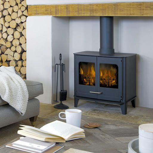 A large steel stove with a modern design Designed with the larger room in mind, the Ø8 will add a touch of class to almost any interior designer's concept
