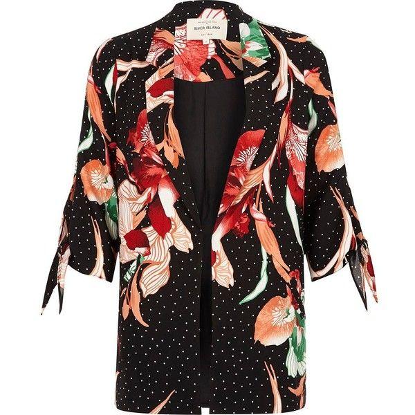 River Island Black floral polka dot print tie cuff blazer ($120) ❤ liked on Polyvore featuring outerwear, jackets, blazers, blazer, black, coats / jackets, women, floral blazer, 3/4 sleeve jacket and polka dot blazer