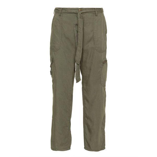 Zizzi Khaki-Green Plus Size Tie-belt trousers ($52) ❤ liked on Polyvore…