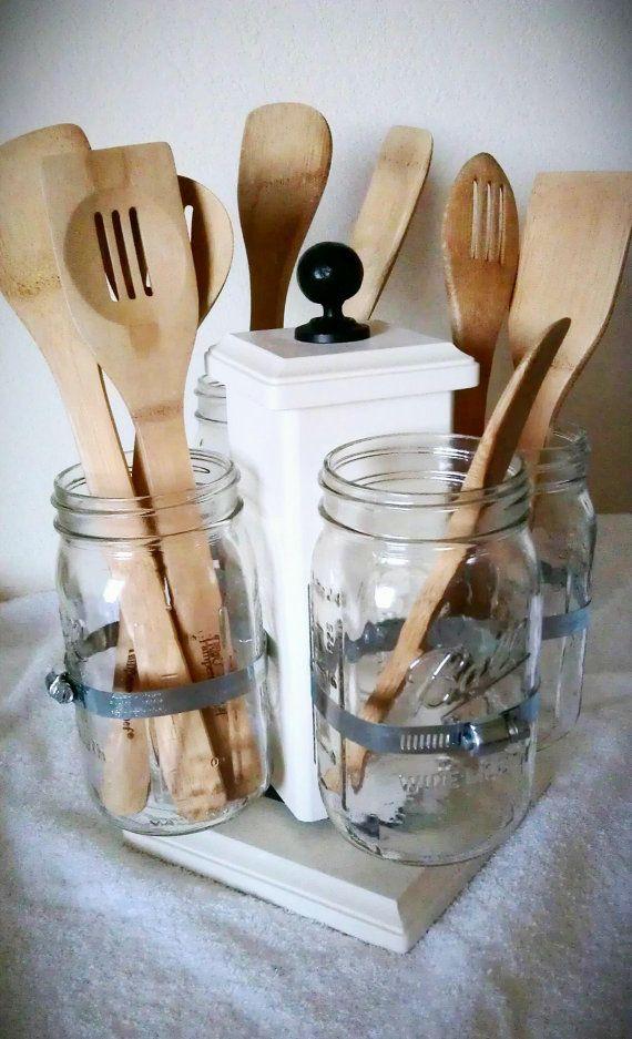 Mason Jars to hold utensils.