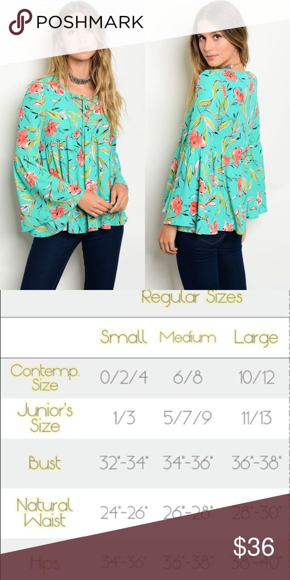 🆕 Jade Floral Long Bell Sleeves Lace-Up Top New with tags. Beautiful floral top with long bell sleeves and lace-up front. Brand is Peach Love, sold at ASOS, Nordstrom, and other high-end department stores.                                                🌸100% polyester.                                                                         🌸Made in USA.                                                                                          ❌SORRY, NO TRADES. ASOS Tops Blouses