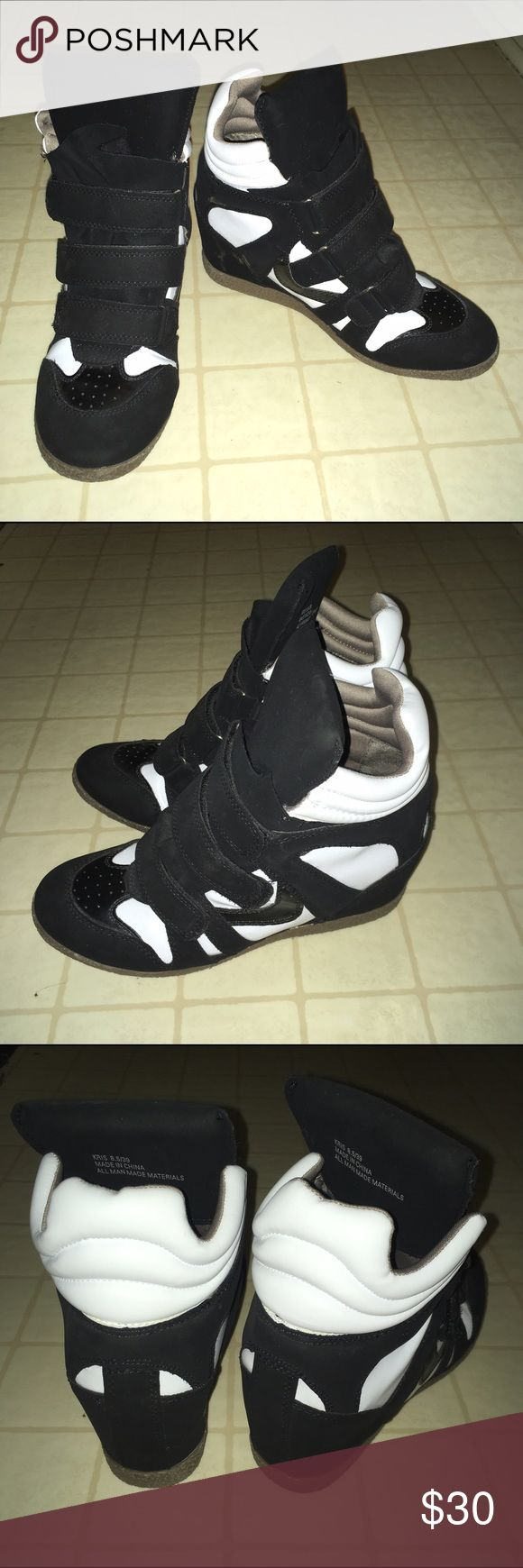Black and white wedge sneakers Only worn once! JustFab Shoes Sneakers