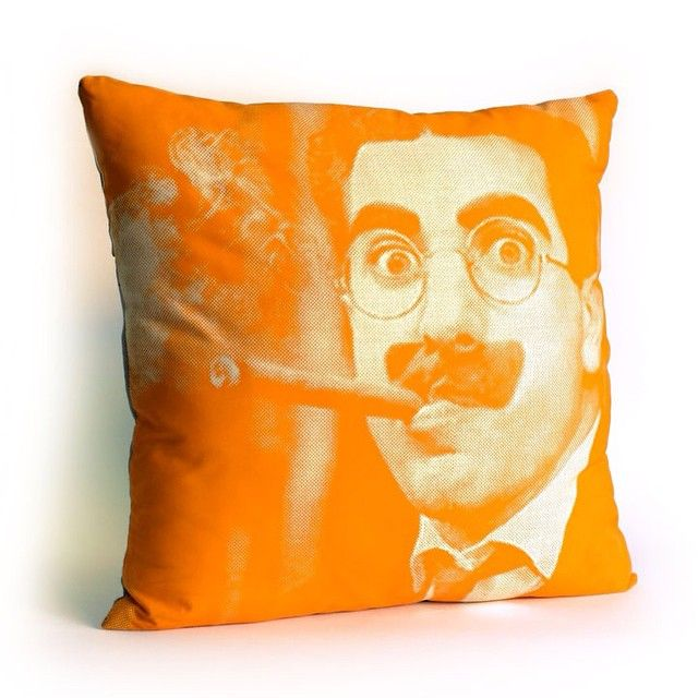 """""""Groucho Pillow  Printed on cotton canvas.  Colors can be customised #ylayastudio #pillows #homeaccessories #groucho"""""""