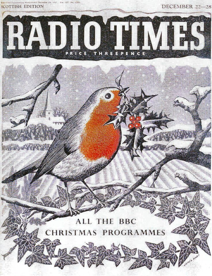 Door #4 - the 1950s saw the return of colour to the covers of the Radio Times, albeit in a more minimal fashion than previously. However this did make for some memorable Christmas covers such as this jolly robin from 1957