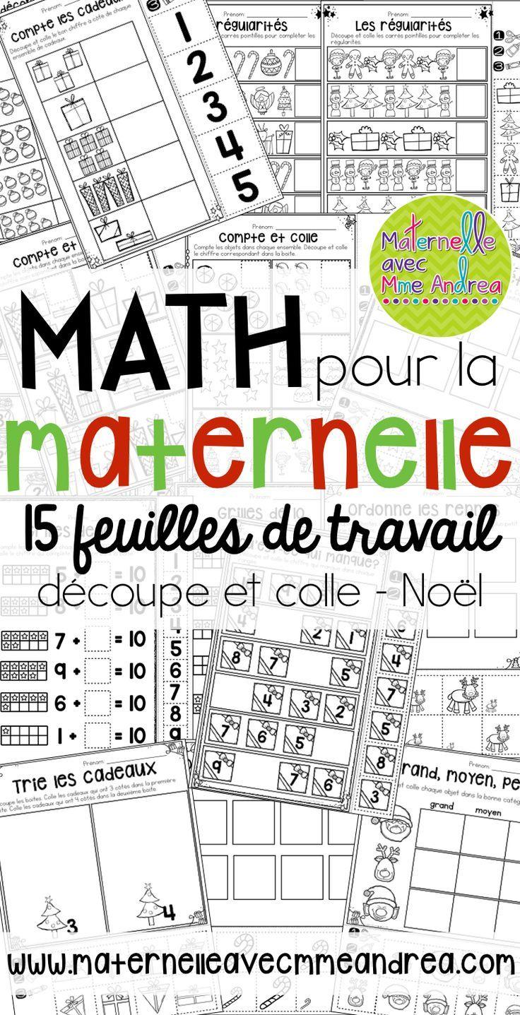 feuilles de mathématiques | mathématiques en maternelle | Noël | sans préparation | découpe et colle | motricité fine | sens du nombre | régularités