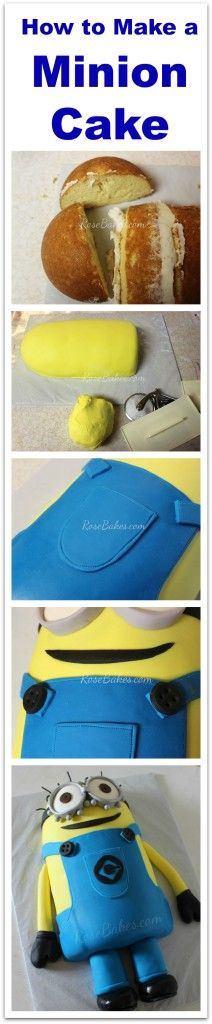 How to Make a Minion Cake - Step by Step photos of how to make a laying down Minion cake... no stacking or 3-D carving!