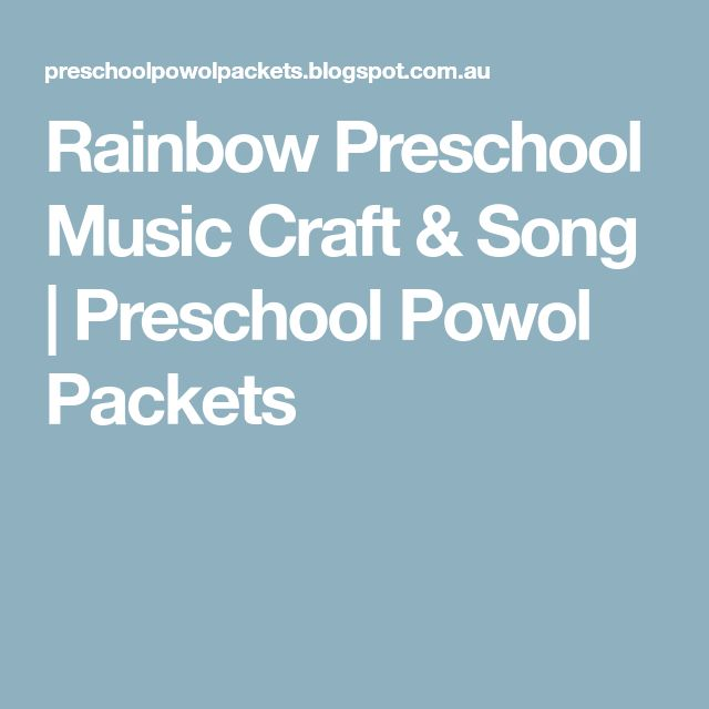 Rainbow Preschool Music Craft & Song | Preschool Powol Packets