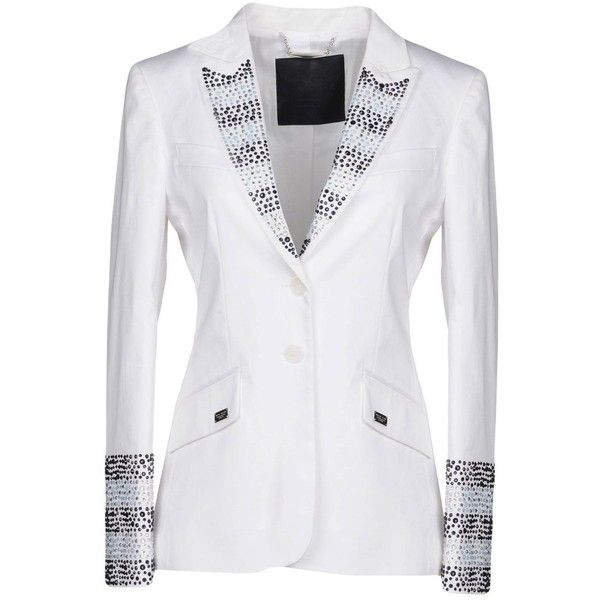 Philipp Plein Blazer ($1,700) ❤ liked on Polyvore featuring outerwear, jackets, blazers, white, blazer jacket, white blazer jacket, lapel blazer, long sleeve blazer and single breasted jacket