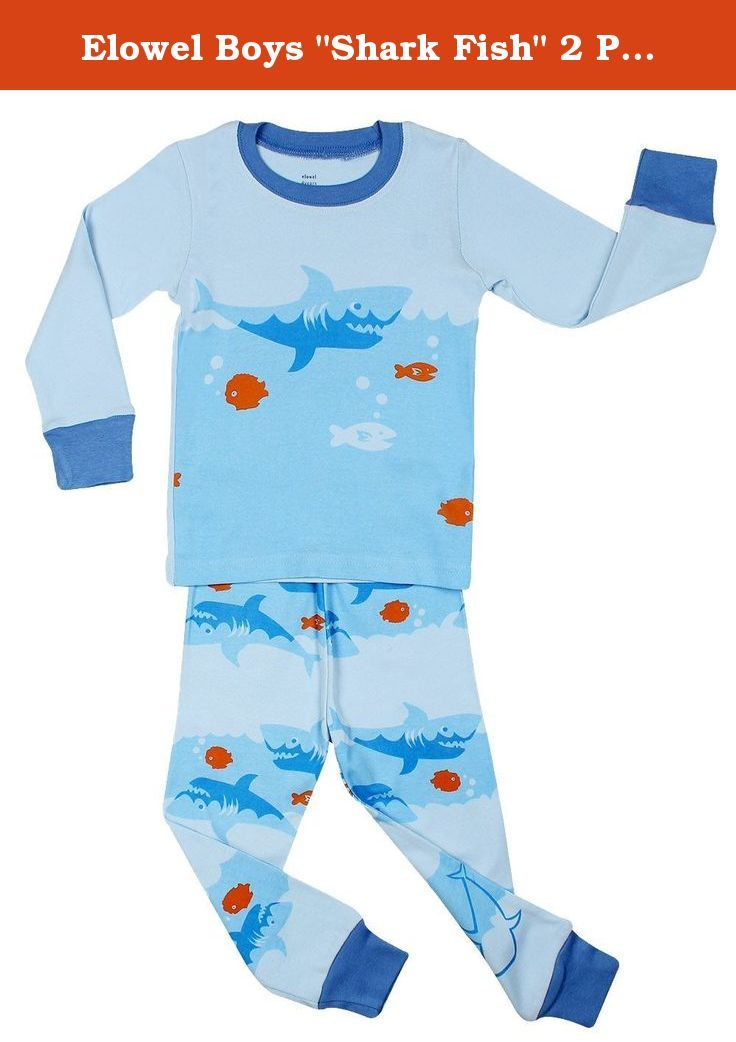 """Elowel Boys """"Shark Fish"""" 2 Piece Pajama Set 100% Cotton - Size 8. Your little one will sleep comfortable with this pajama set from Elowel. You'll love these cute and comfy PJs from Elowel! Top and bottom are made of soft cotton. For fire safety, these pajamas should fit snugly. 100% Cotton. Machine wash warm, inside out. These pajamas are snugly fitted pajamas. If your child is above average consider a bigger size because of the snug fit. We hope you enjoy these pajamas from our unique..."""