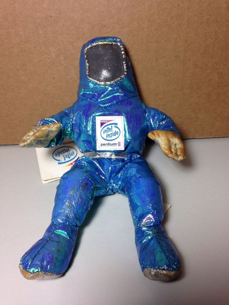 Vtg Intel Inside Bunny People Moon Man Plush Doll - Blue Metallic Pentium II NEW