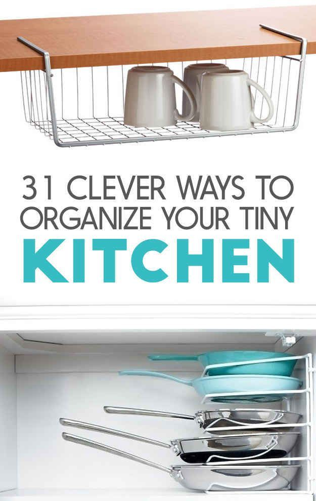 586 best small house hacks images on pinterest for Small kitchen organization hacks