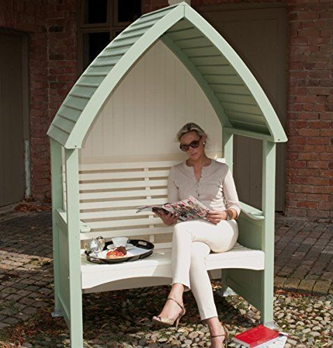Cottage Style Painted Wooden Garden Arbour & Seat (Sage & Cream Finish). An attractive addition to any garden.