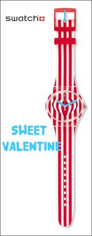 A edição especial para o Dia dos Namorados da Swatch, SWEET VALENTINE (SUOZ168),  está coberta de doces riscas vermelhas e brancas, desde a bracelete à caixa, que curvam no mostrador formando, no centro, um coração.