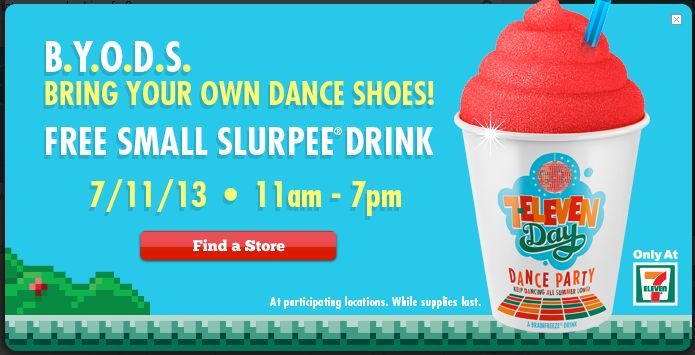 Buy Dealz ::Free Slurpee from 11am-7pm on July 11th! » for SALE at 7-Eleven, Inc.