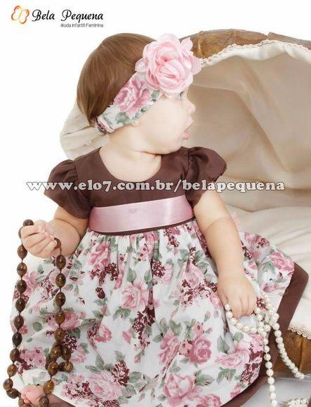 Vestido Infantil Floral Marrom e rosa   Bela Pequena   Elo7