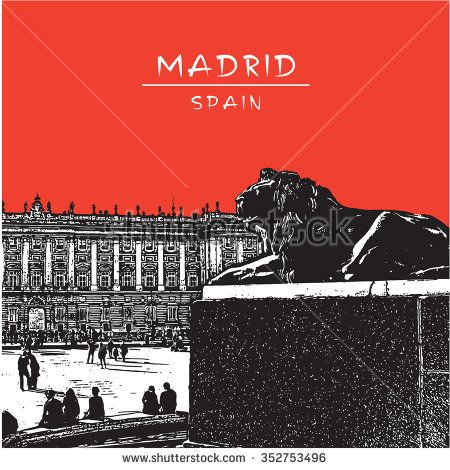 Madrid, Spain. Square in front of Royal Palace. Vector illustration in vintage style. Image with statue of lion and red sky.