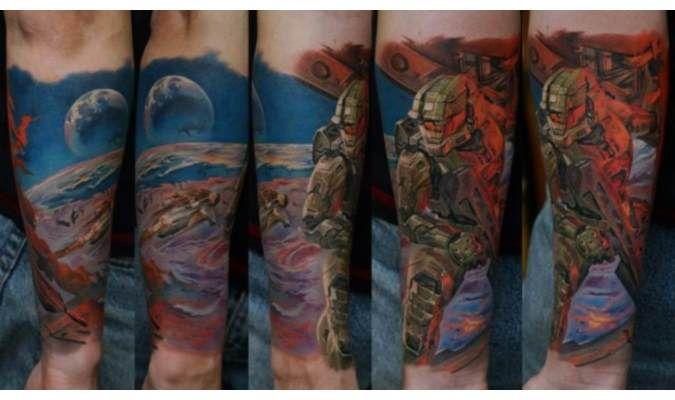 Awesome Half-Sleeve HALO Tattoo