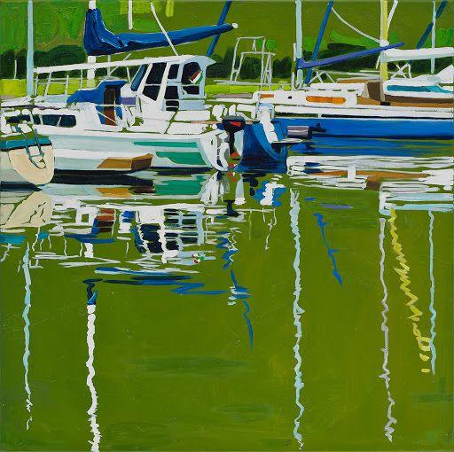 Sára Osgyányi - Calm harbor, blue piles oil on canvas, 50x50cm