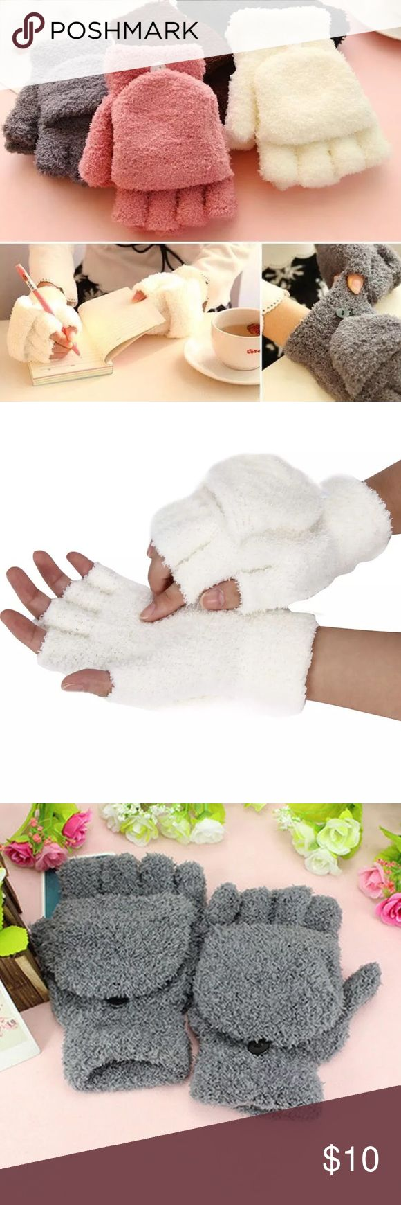 """Mitt Gloves New in package Price is for 1 pair, either gray or white/cream. Soft feather velvet construction provides lasting comfort. Wrist-length. One size fits most. Button holds the flap down when not in use. Keeps your fingers warm and can still function conveniently ✔️ Wrist wide: Approx. 8/3.15""""  ✔️ Palm wide: Approx. 8/3.15""""  ✔️ Length: Approx. 17/6.69""""  Colors: Beige or gray    ❌ No Trades Accessories Gloves & Mittens"""