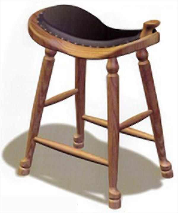 Amish Western Saddle Stool UpholsteredAmish Furniture Oak Cherry Saddle  Stool