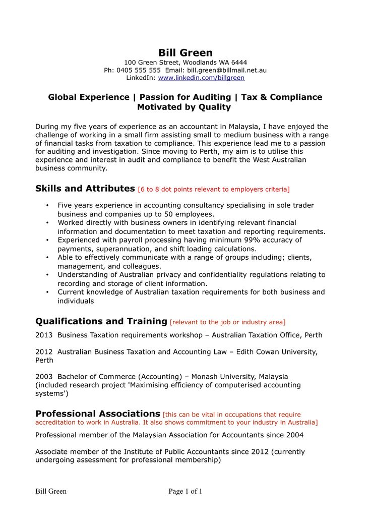 resume sample accounting page template australia writing one