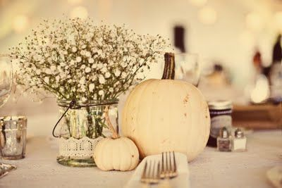 i LOVE these pumpkins with babies breath for table settings - they add a lovely autumnal edge