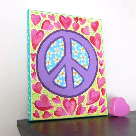 Childrens Art PEACE and HEARTS 10x8x3/4 Acrylic Canvas by nJoyArt, $40.00