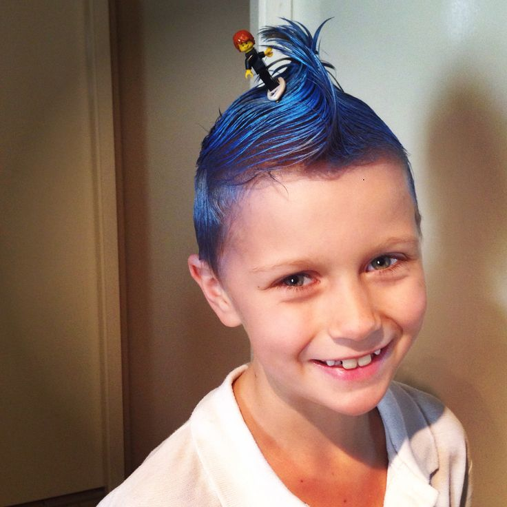 Great idea for crazy hair day for the boys. Spray hair blue and style into a wave and bobby pin a Lego surfer into the wave