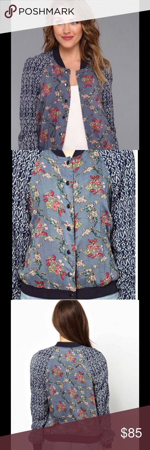 Free People Floral Printed Baseball Jacket Super cute and comfy, lightweight baseball jacket!  Satin lined.  Snap closure.  Navy color ribbed neck and cuffs.  No Trades.  Make an offer and/or request a bundle. Free People Jackets & Coats