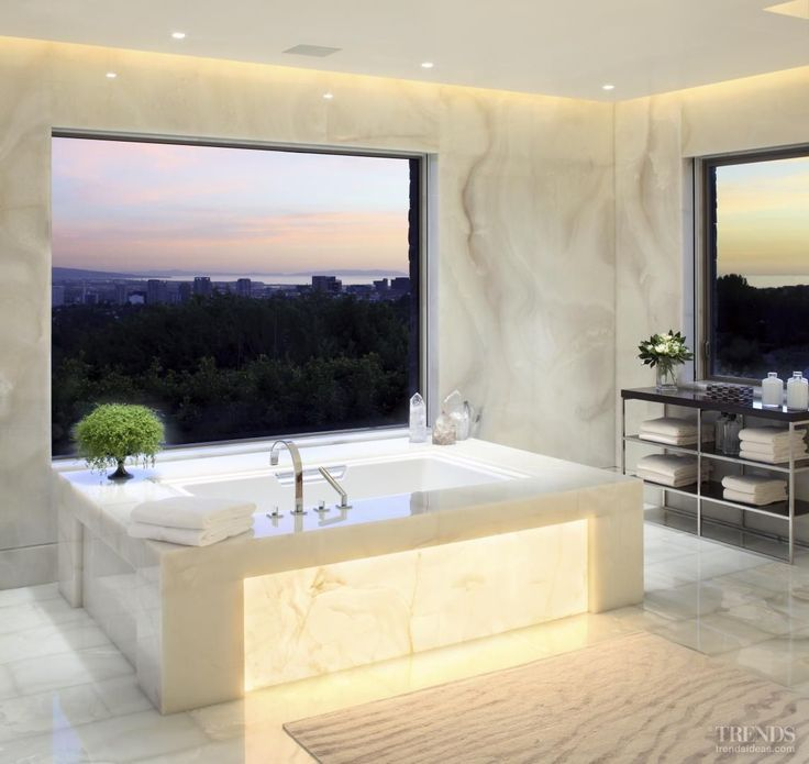 Gorgeous Marble Bathroom With A View