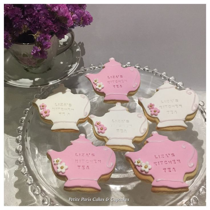 Pink and white floral #teapot #cookies for Liza's #kitchentea