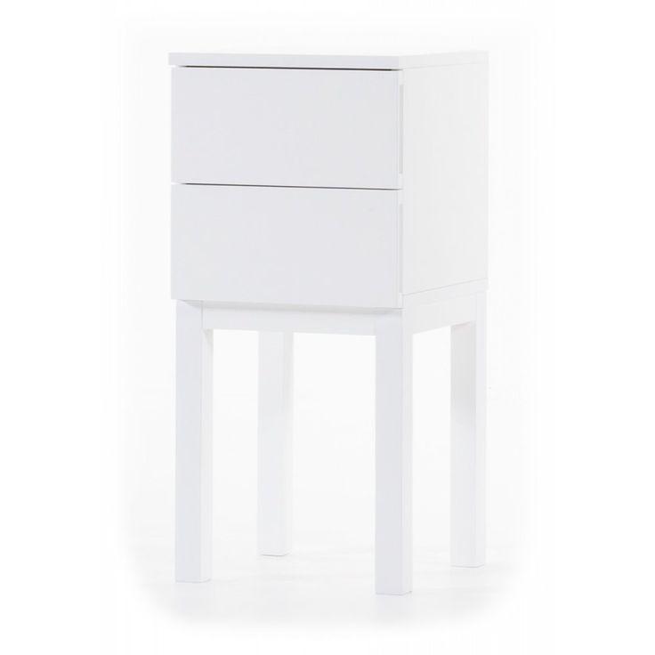 Österlen sängbord med 2 lådor - vit