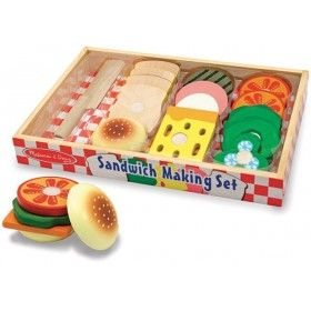 Melissa & Doug - Wooden Play Food Sandwich Making Set