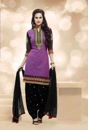 Purple Color Beautiful Chanderi Fabric All New Patiala Suit With Amazing Embroidery Work